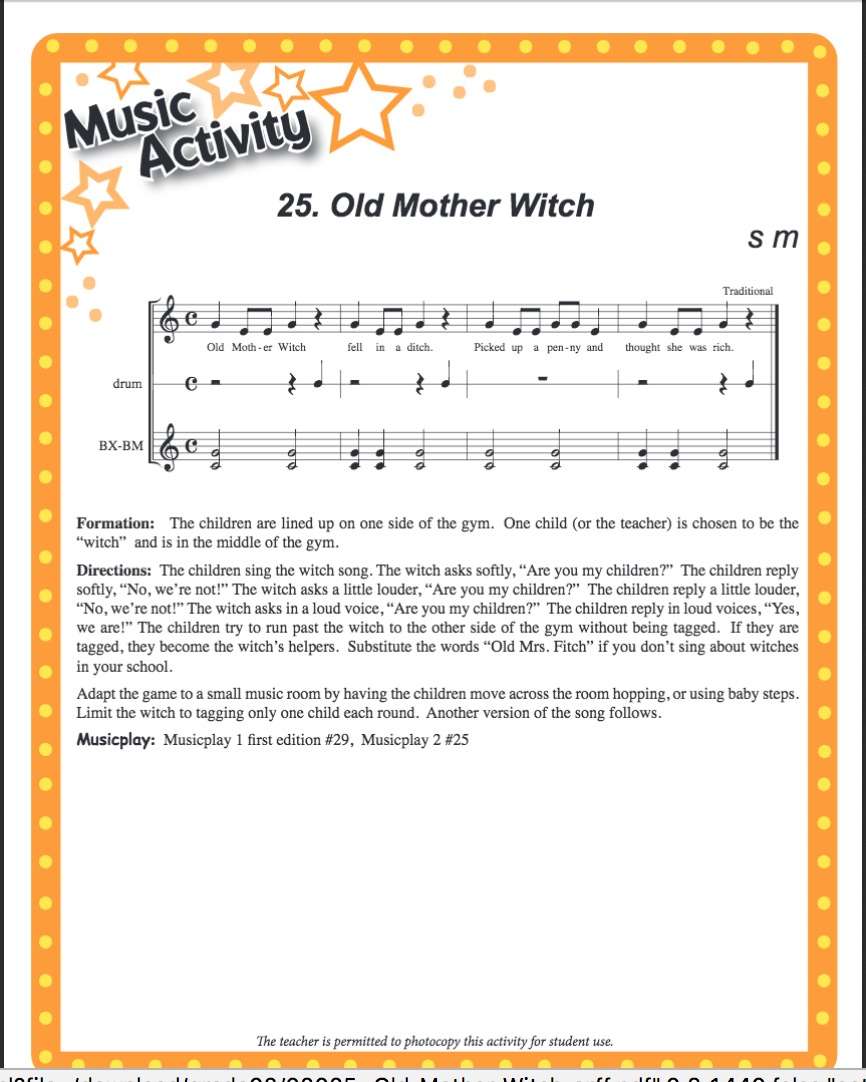 Halloween Music Lesson - Old Mother Witch | Denise Gagné